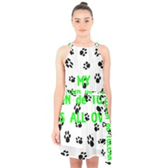 My Coton Walks On Me Halter Collar Waist Tie Chiffon Dress