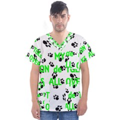 My Coton Walks On Me Men s V Neck Scrub Top