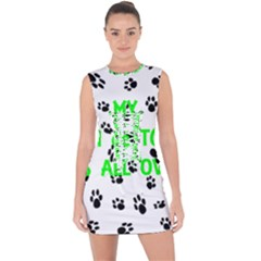 My Coton Walks On Me Lace Up Front Bodycon Dress
