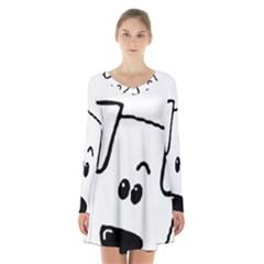 Peeping Coton Long Sleeve Velvet V Neck Dress