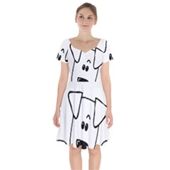Peeping Coton Short Sleeve Bardot Dress