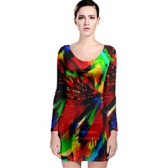 Flowers With Color Kick 1 Long Sleeve Bodycon Dress