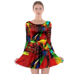Flowers With Color Kick 1 Long Sleeve Skater Dress