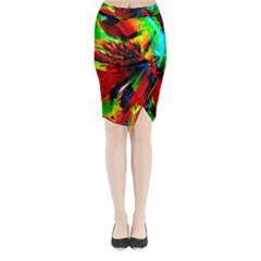 Flowers With Color Kick 1 Midi Wrap Pencil Skirt
