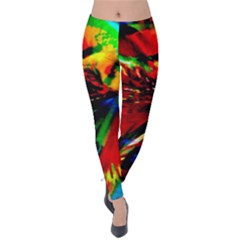 Flowers With Color Kick 1 Velvet Leggings