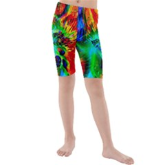 Flowers With Color Kick 2 Kids  Mid Length Swim Shorts