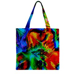 Flowers With Color Kick 2 Zipper Grocery Tote Bag