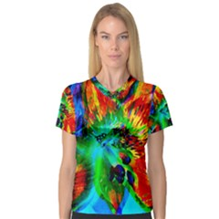 Flowers With Color Kick 2 V Neck Sport Mesh Tee