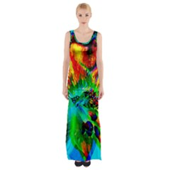 Flowers With Color Kick 2 Maxi Thigh Split Dress