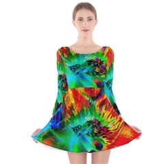 Flowers With Color Kick 2 Long Sleeve Velvet Skater Dress