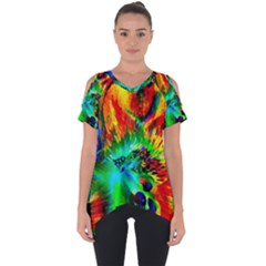 Flowers With Color Kick 2 Cut Out Side Drop Tee