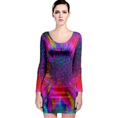 Flowers With Color Kick 3 Long Sleeve Bodycon Dress