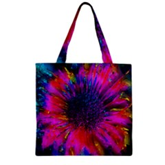 Flowers With Color Kick 3 Zipper Grocery Tote Bag