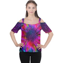Flowers With Color Kick 3 Cutout Shoulder Tee