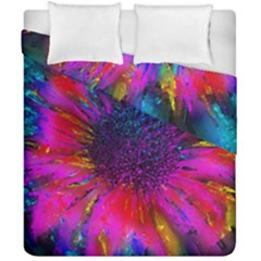 Flowers With Color Kick 3 Duvet Cover Double Side (california King Size)
