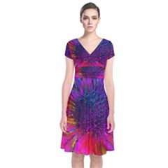 Flowers With Color Kick 3 Short Sleeve Front Wrap Dress