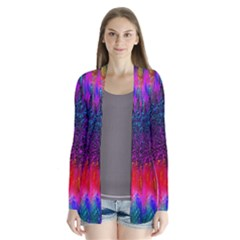 Flowers With Color Kick 3 Drape Collar Cardigan