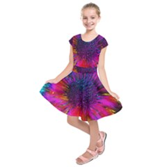 Flowers With Color Kick 3 Kids  Short Sleeve Dress