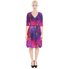 Flowers With Color Kick 3 Wrap Up Cocktail Dress