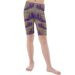 Pearl Lace And Smiles In Peacock Style Kids  Mid Length Swim Shorts