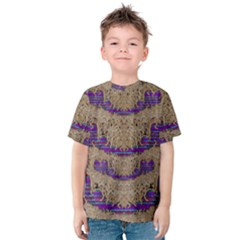 Pearl Lace And Smiles In Peacock Style Kids  Cotton Tee