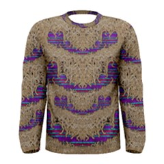 Pearl Lace And Smiles In Peacock Style Men s Long Sleeve Tee