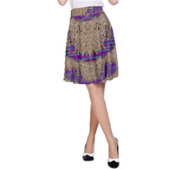 Pearl Lace And Smiles In Peacock Style A Line Skirt