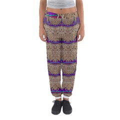Pearl Lace And Smiles In Peacock Style Women s Jogger Sweatpants