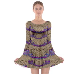 Pearl Lace And Smiles In Peacock Style Long Sleeve Skater Dress