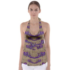 Pearl Lace And Smiles In Peacock Style Babydoll Tankini Top