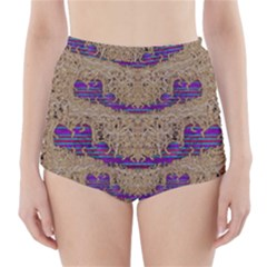 Pearl Lace And Smiles In Peacock Style High Waisted Bikini Bottoms