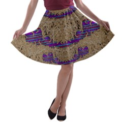 Pearl Lace And Smiles In Peacock Style A Line Skater Skirt