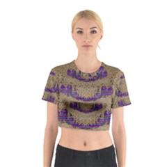 Pearl Lace And Smiles In Peacock Style Cotton Crop Top
