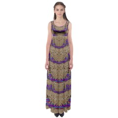 Pearl Lace And Smiles In Peacock Style Empire Waist Maxi Dress