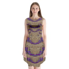 Pearl Lace And Smiles In Peacock Style Sleeveless Chiffon Dress