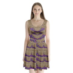 Pearl Lace And Smiles In Peacock Style Split Back Mini Dress