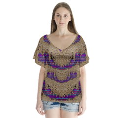 Pearl Lace And Smiles In Peacock Style V Neck Flutter Sleeve Top