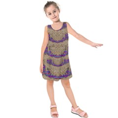 Pearl Lace And Smiles In Peacock Style Kids  Sleeveless Dress