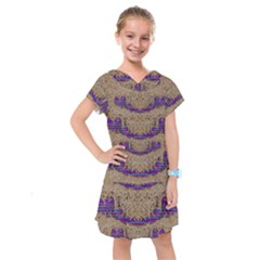 Pearl Lace And Smiles In Peacock Style Kids  Drop Waist Dress