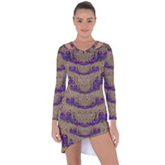 Pearl Lace And Smiles In Peacock Style Asymmetric Cut Out Shift Dress