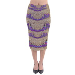 Pearl Lace And Smiles In Peacock Style Velvet Midi Pencil Skirt