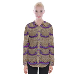 Pearl Lace And Smiles In Peacock Style Womens Long Sleeve Shirt