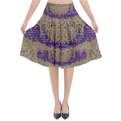 Pearl Lace And Smiles In Peacock Style Flared Midi Skirt