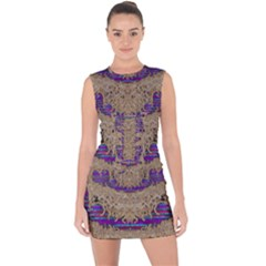 Pearl Lace And Smiles In Peacock Style Lace Up Front Bodycon Dress
