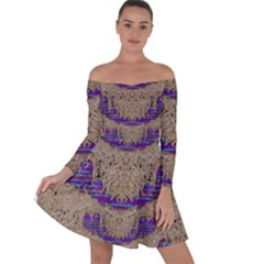 Pearl Lace And Smiles In Peacock Style Off Shoulder Skater Dress
