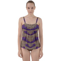 Pearl Lace And Smiles In Peacock Style Twist Front Tankini Set