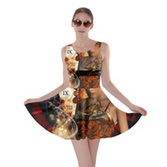 Steampunk, Beautiful Steampunk Lady With Clocks And Gears Skater Dress
