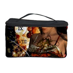 Steampunk, Beautiful Steampunk Lady With Clocks And Gears Cosmetic Storage Case