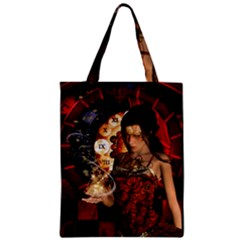 Steampunk, Beautiful Steampunk Lady With Clocks And Gears Zipper Classic Tote Bag