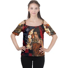 Steampunk, Beautiful Steampunk Lady With Clocks And Gears Cutout Shoulder Tee